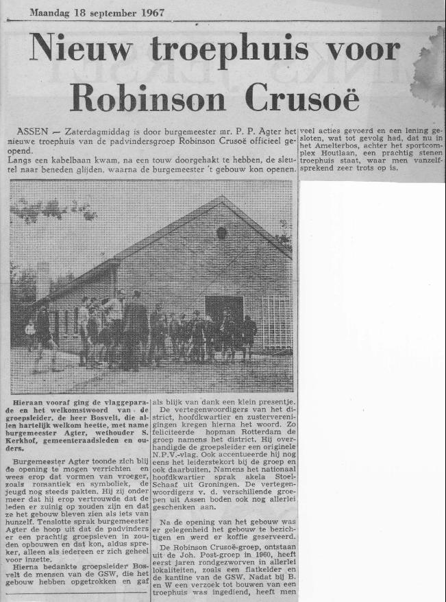 krantenartikel van 18-7-1967 over het nieuwe troephuis Robinson Crusoë