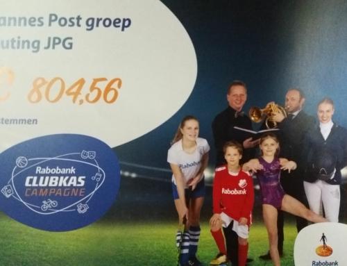 De JPG heeft ruim 800 euro ontvangen van de Rabobank Clubkas Campagne